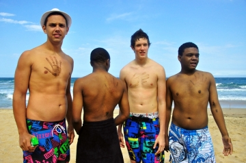 Participants at the beach in Durban, South Africa